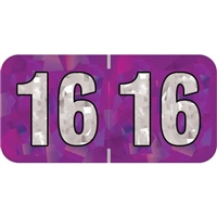 PMA Compatible Year Labels, 2016, Holographic Purple, 3/4 x 1-1/2, 500/Roll