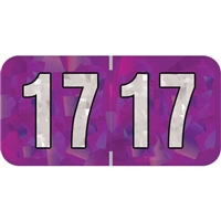 PMA Compatible Year Labels, 2017, Holographic Purple, 3/4 x 1-1/2, 500/Roll