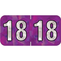 PMA Compatible Year Labels, 2018, Holographic Purple, 3/4 x 1-1/2, 500/Roll