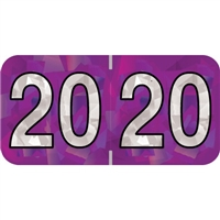 PMA Compatible Year Labels, 2020, Holographic Purple, 3/4 x 1-1/2, 500/RL