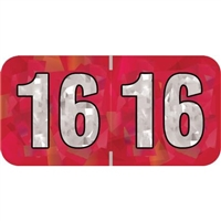 PMA Compatible Year Labels, 2016, Holographic Red, 3/4 x 1-1/2, 500/Roll