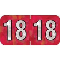 PMA Compatible Year Labels, 2018, Holographic Red, 3/4 x 1-1/2, 500/Roll