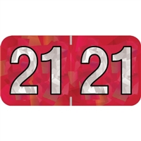 PMA Compatible Year Labels, 2021, Holographic Red, 3/4 x 1-1/2, 500/RL