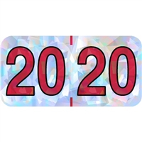 PMA Compatible Year Labels, 2020, Holographic Silver, 3/4 x 1-1/2, 500/RL