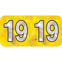 PMA Compatible Year Labels, 2019, Holographic Yellow, 3/4 x 1-1/2, 500/RL