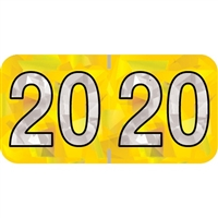 PMA Compatible Year Labels, 2020, Holographic Yellow, 3/4 x 1-1/2, 500/RL