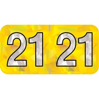 PMA Compatible Year Labels, 2021, Holographic Yellow, 3/4 x 1-1/2, 500/RL