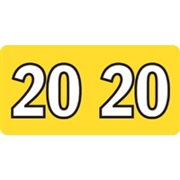 Kardex Compatible Year Labels, 2020, Yellow, 3/4 x 1-1/2, 500/Roll
