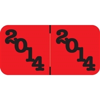 Jeter Compatble Year Labels, 2014, Red/Black, 3/4 x 1-1/2, 500/Roll