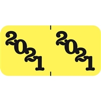 Jeter Compatible Year Labels, 2021, Yellow, 3/4 x 1-1/2, 500/Roll