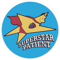 "Children's Stickers, Superstar Patient, Dark Blue, 1-3/4"" Circle, 100/Roll"