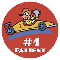 "Children's Stickers, #1 Patient - Car, Red, 1-3/4"" Circle, 100/Roll"