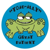 "Children's Stickers, Toad-Ally Great, Blue, 1-3/4"" Circle, 100/Roll"