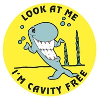 "Children's Stickers, I'm Cavity Free, Yellow, 1-3/4"" Circle, 100/Roll"