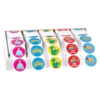"Children's Stickers, 5 Mix-&Match Rolls, Assorted, 1-3/4"" Circle, 100/Roll"