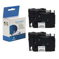 "Compatible Brother TZ-131 / TZe131 Tape, Black on Clear, 1/2"" , 2/Pk"