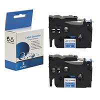 "Compatible Brother TZ-541 / TZe541 Tape, Black on blue, 3/4"", 2/Pk"