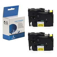 "Compatible Brother TZ-631 / TZe631 Tape, Black on Yellow, 1/2"", 2/Pk"