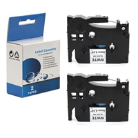 "Compatible Brother TZ-S221 / TZeS221 Tape, Black on White, 3/8"", 2/Pk"