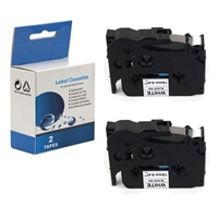 "Compatible Brother TZ-S231 / TZeS231 Tape, Black on White, 1/2"", 2/Pk"