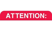 Attention Label , Red/White, 1-1/2 x 7/8, Roll/250