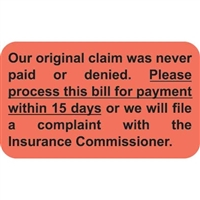 Insurance Claim Labels, Claim Never Paid, 250/Box (MAP1150)