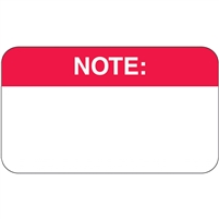 Note Label, White/Red, 1-1/2 x 7/8, Roll/250