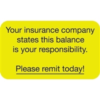 Patient Responsibility Labels, Your Insurance, 250/Box (MAP2080)
