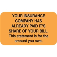 Patient Responsibility Labels, Your Insurance, 250/Box (MAP2200)