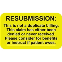 Insurance Claim Labels, Re-submission, 250/Box (MAP2680)