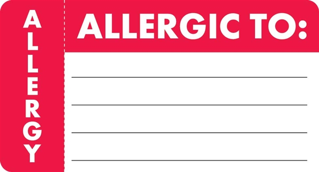 Allergic To/Allergy Label MAP3300
