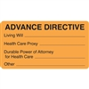 Advance Directive Label, Orange, 3-1/2 x 1-3/4, Roll/250