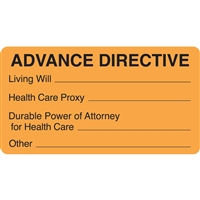dvance Directive Label, Orange, 3-1/2 x 1-3/4, Roll/250