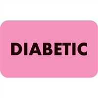 Diabetic Label, Pink, 1-1/2 x 7/8, Roll/250