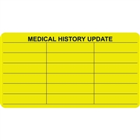Medical History Label, Chartreuse, 3-1/2 x 1-3/4, Roll/250