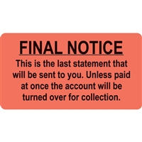 Billing/Collection Labels, Final Notice, 3-1/4 x 1-3/4, 250/RL (MAP4740)