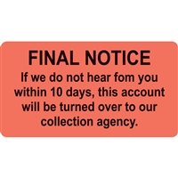 Billing/Collection Labels, Final Notice, 3-1/4 x 1-3/4, 250/RL (MAP4790)