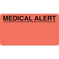 Medical Alert Label, Red, 3-1/4 x 1-3/4, Roll/250
