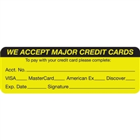 We Accept Major Credit Cards Label MAP5790