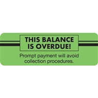 "BALANCE OVERDUE Label, 3""W x 1""H, 250/RL (MAP5820)"