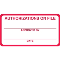 Authorization On File Label, Red/White, 3-1/4 x 1-3/4, Roll/250