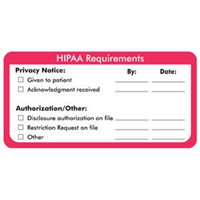 HIPAA Requirements Label, White/Red, 4 x 2, Roll/250