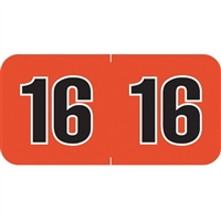 POS Year Labels 2016 Orange 1-1/2 x 3/4 500/Roll