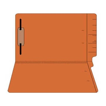 "Colored Folders, End Tab, Legal Size, 3/4"" Exp, Fastener Pos 1, 14pt Orange, 50/Box"