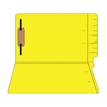 "Colored Folders, End Tab, Legal Size, 3/4"" Exp, Fastener Pos 1, 14pt Yellow, 50/Box"