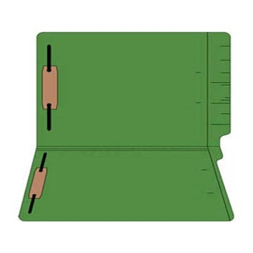 "Colored Folders, End Tab, Legal Size, 3/4"" Exp, Fastener Pos 1/3, 14pt Green, 50/Box"