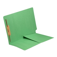 Colored End Tab Folders, Letter, 1/2 Pocket, Fastener Pos 1, 11pt Green, 50/Bx
