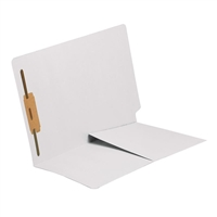 Colored End Tab Folders, Letter, 1/2 Pocket, Fastener Pos 1, 11pt White, 50/Bx