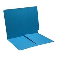 Colored End Tab Folders, Letter, 1/2 Pocket Inside Front, 11pt Blue, 50/Bx