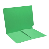 Colored End Tab Folders, Letter, 1/2 Pocket Inside Front, 11pt Green, 50/Bx